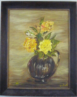 Yellow Roses Black Vase Vintage Still Life Oil Painting Signed Helen - Framed