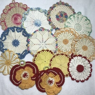 Vintage Handmade Crochet Potholders Lot 14 completed Pansy Rose round colorful