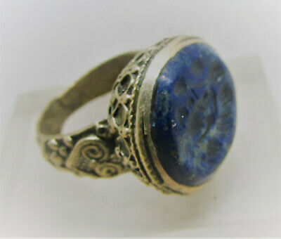 Lovely Antique Near Eastern Gold Gilded Ring With Lapis Lazuli Intaglio Stone