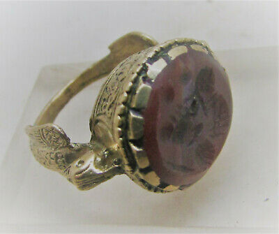 Lovely Antique Near Eastern Gold Gilded Ring With Jasper Intaglio Stone