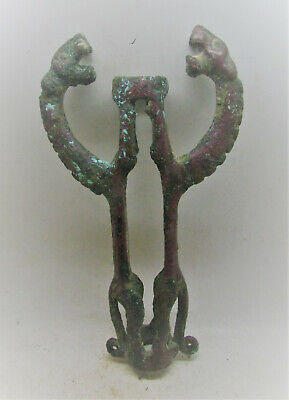 Very Rare Ancient Phoenician Bronze Idol With Two Serpent Heads 1500-1000Bce