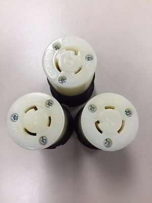 Lot of 3 - Hubbell - HBL2313  20 amp 125 vac L5-20R Connector 2 pole 3 wire