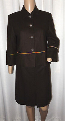 Harve' Bernard Petite Women's Wool Blend Skirt Suit Size 6P Brown Ex Cond