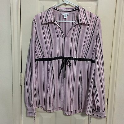 Motherhood Maternity Pink Black Long Sleeve Tie Striped V Neck Top Blouse XL