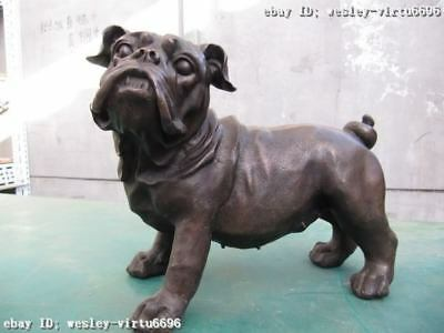 Chinese classic pure Copper bronze Carved Pekinese Dog animal Statue