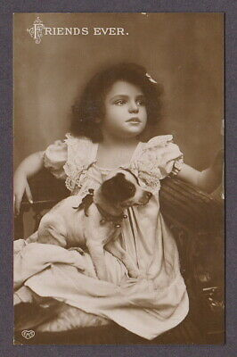 EAS Friends Forever Greetings Antique Postcard Girl Child Dog