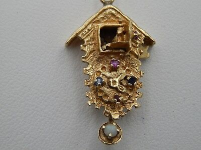 14k YG Coo Coo Clock Fancy Intricate Charm Moving Parts .09 tcw Ruby Sapphire
