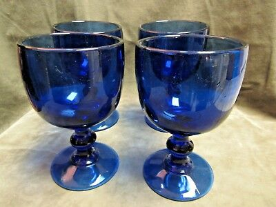 Vintage 1960's Imperial Glass Hoffman House Heavy Goblet Lot of 4 Ultra Blue