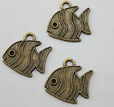 25/60 pcs Retro style beautiful bronze the fish charm pendant 21x19 mm
