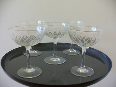 Set of (5) Antique Champagne Glasses Fine Diamond Cut Very Good Cond