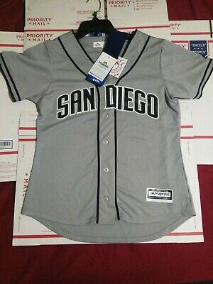 new style 4761a b7379 MAJESTIC SAN DIEGO Padres Womens Baseball Jersey Size large Gray Navy