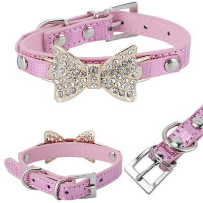 Pet Puppy Cat Dog Collar Pink PU Leather Adjustable Rhinestone Bow Neck Strap