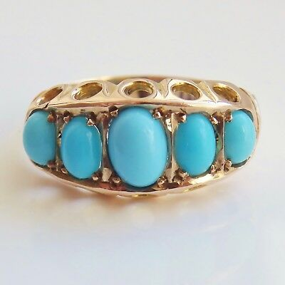 Stunning Antique Edwardian 9ct Gold Turquoise Cabochon Five Stone Ring c1906