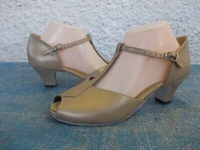 Flamingo Pale Gold Genuine Leather Leather Soles Dance Shoes-Sz 8 Md In Aust Vgc