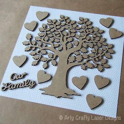 MDF Family English Oak Tree Craft Blank Laser Cut 9 Hearts Words Our Family