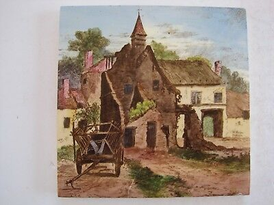 ANTIQUE VICTORIAN MINTONS VIEWS TILE  - RUINS OF HOUGOMONT - L.T.SWETNAM c1890