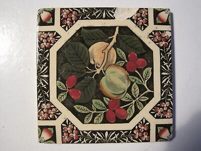 ANTIQUE VICTORIAN PRINT AND TINT WALL TILE - PEACHES & PLUMS No.190 C1884