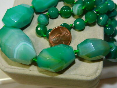 """Chunky Green Agate Faceted Knotted Bead Strand 26"""" Necklace"""