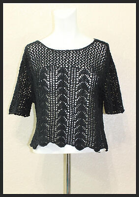 Abercrombie & Fitch Girls Black See Through Half-Sleeve Knit Blouse Size L