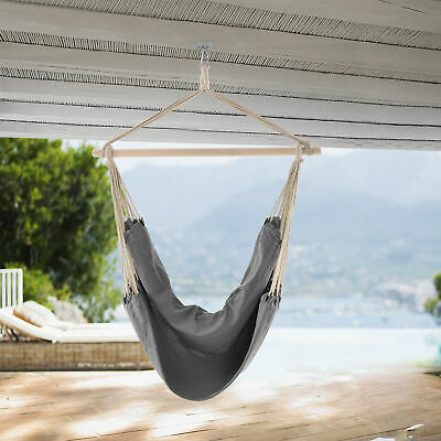 [casa.pro]® XXL Hanging Swing Chair Hammock Grey Garden Camping Relaxing