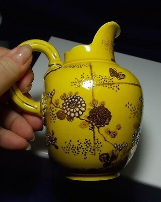 Old Vintage Yellow Art Pottery Glazed Gilt Hand Painted Flowers Pitcher Japan?