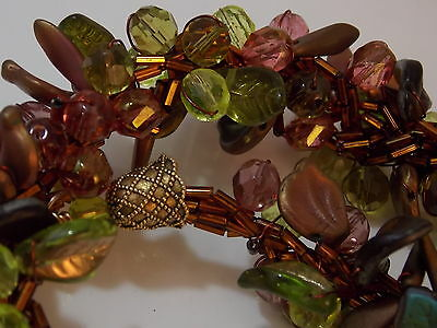 "Chunky Beaded Collar 19"" Necklace Molded Glass Plastic Bronze Green Leaves"