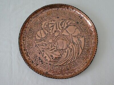 Antique Arts & Crafts Copper Charger with Poppy Robert Burns Motto