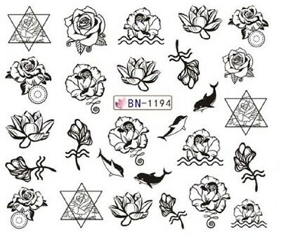 Nail Art Stickers Water Decals Black Outline Dolphins Roses (BN1194)