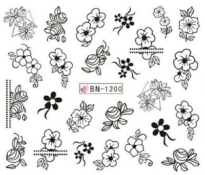 Nail Art Stickers Water Decals Black Outline Flowers (BN1200)