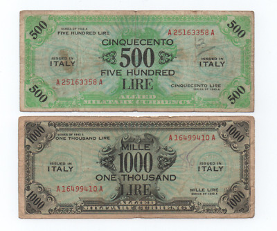 500 /1000 Am Lire Occupazione Americana In Italia Bilingue F. L. C