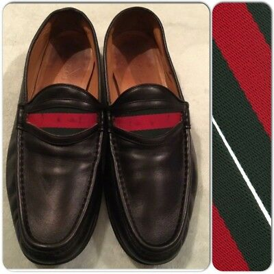 5cd131e672eb Vintage GUCCI Men's Black Leather Red/Green Ribbon strap Runway Loafers Eur  43.5