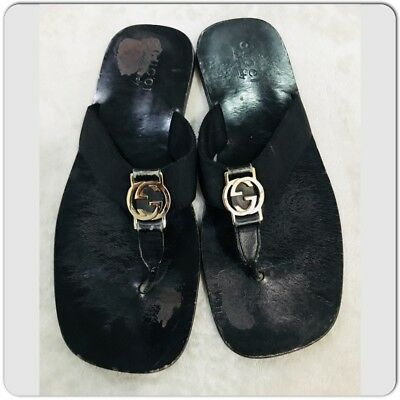 c18296118bd3 Gucci Black Leather and Webbing Interlocking GG Thong mens Sandals Size 44