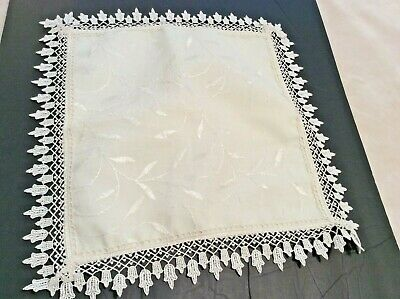 Antique White Embroidered Square Pillow Case Cover with Lace Trim
