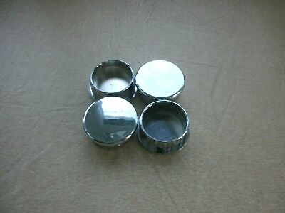 Chrome Round Plastic Blanking plug End Caps Tube Inserts - 38mm Ext. Diameter x4