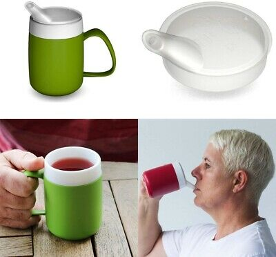 Green Drinking Aid Mobility Disability Elderly Parkinsons Non Spill Mug Cup Beak