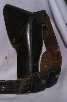 WWII Military Leather Holster, Ammo Pouch and Belt-US military Or police