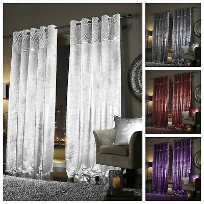 Paloma Curtains and Cushions Faux Velvet Fully Lined with Eyelet Face & Lining