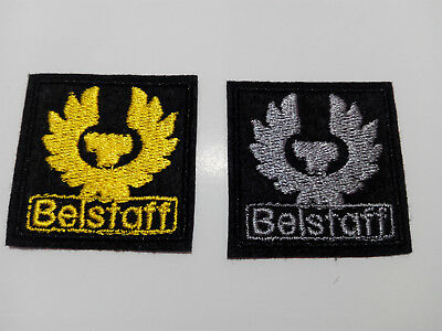 Lot 2 embroidered patches for sewing Belstaff 1.5 inches yellow and grey