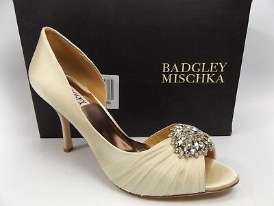 BADGLEY MISCHKA Womens Pearson Peep Toe D-orsay Dress Pumps Satin SZ 9.0 M D8668