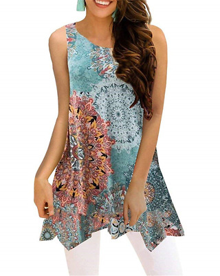 3c3dfa4f95af70 Luranee Tunics for Women Ladies Dressy Tops Sleeveless A Line Hawaiian  Outfits M