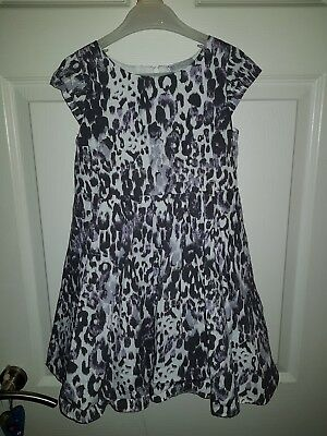 Girls party dress age 6 years leopard print Matalan white grey lilac fully lined