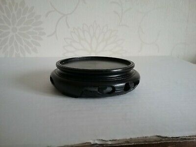 Antique Carved Wood Chinese bowl or vase wooden Stand