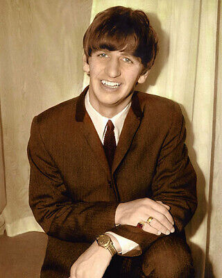 "RINGO STARR RICHARD STARKEY 1963 THE BEATLES 8x10"" HAND COLOR TINTED PHOTOGRAPH"