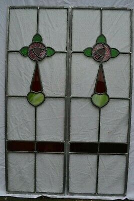 2 RESTORED British leaded light stained hammered glass window panels. R840