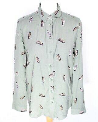 H&M Khaki Green Blouse 6 8 Shirt Feathers Button Collared Smart Work Formal