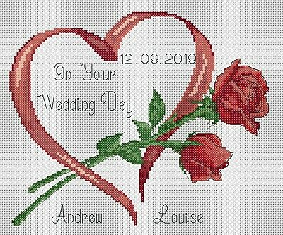 Wedding Heart Sampler with Red Roses Counted Cross Stitch Complete Kit  #6-7