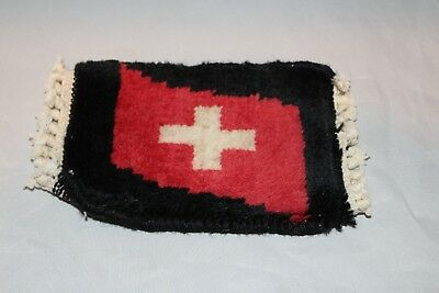 Vintage Miniature Wool Rug Persian Dollhouse Carpet 7 x 4  art Red cross