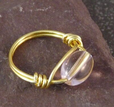 Handmade Pale Pink Glass Wire Wrapped Ring - UK Size N