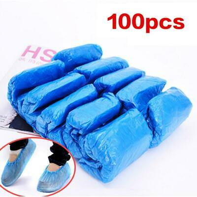 100Pcs Disposable Plastic Shoe Covers Overshoes Waterproof Boot Covers C1MY