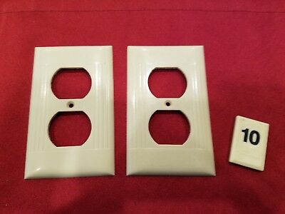 2 Vtg Sierra Deco Single Gang Outlet Wall Plate Cover Ribbed Bakelite - B10